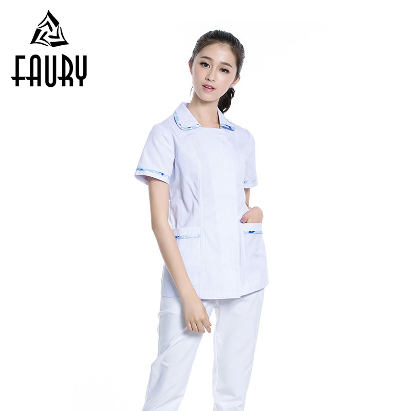 Turn-down Collar Short Sleeve White Nurse Hospital Workwear Uniforms Medical Farmacia Stomatology Beauty Salon Overalls Tops 3XL