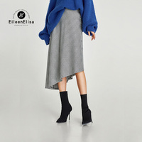 2017 Autumn Winter A Line Skirt Knee Length Loose Casual Gray Plaid Skirt With Buttons Side