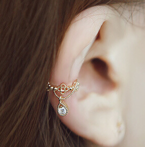 Coroană fierbinte, picătură de cristal, cercei, urechi, urechi, nu perforate, urechi feminine, bijuterii de moda accesorii cadou cu ridicata