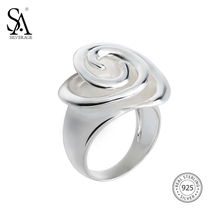 Sa silverage Настоящее стерлингового серебра 925 Роза свадебный Кольца цветок Красивые ювелирные изделия 925 стерлингового серебра–Jewelry Кольцо для женщин