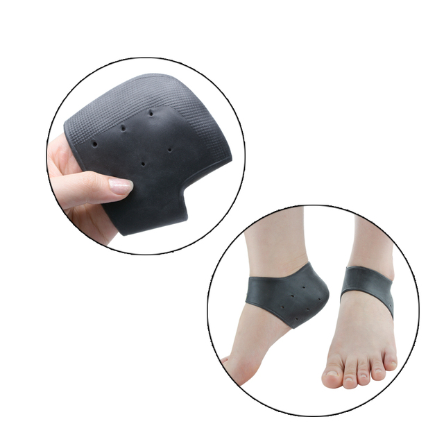 2 Pairs Black Silicone Moisturizing Gel Heel Socks Anti-slip Maintenance Cracked Foot Skin Care Protectors Foot Massage D0577