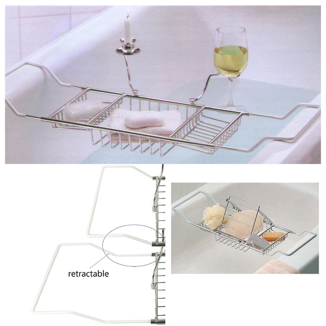 1 Pc Bathtub Rack Tray And Caddy Bathroom Wine Glass Racks With Reading  Holder Free Shipping
