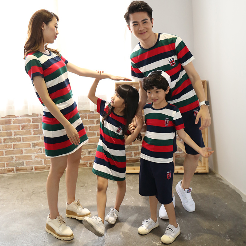 Trendy Striped Family Cotton T Shirts