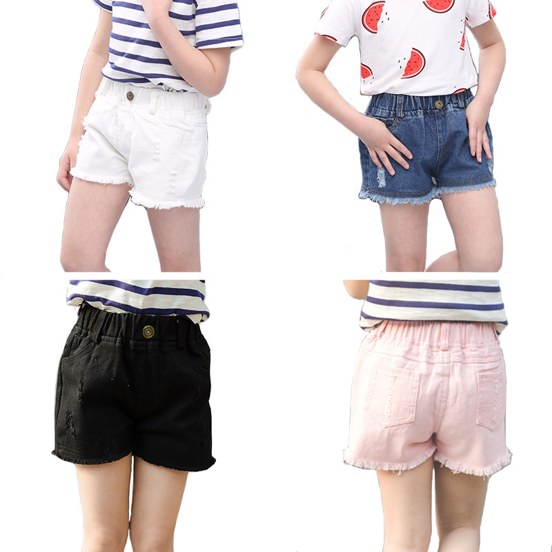 Summer hole jean   shorts   for girls cotton casual baby girls   shorts   pants trunks fashion toddler beach brand kids clothes 4colors