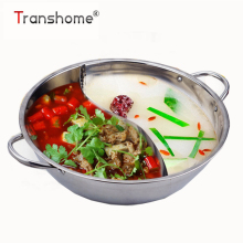 Transhome 1pcs 32 cm Twin Divided Hot Pot Stainless Steel Chinese Traditional Hot Pot Ruled Compatible Soup Cooking Stock Pot(China)