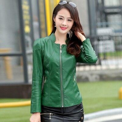 Bust size 112 cm leather clothing female short design slim women's leather jacket stand collar sheepskin leather coat 5