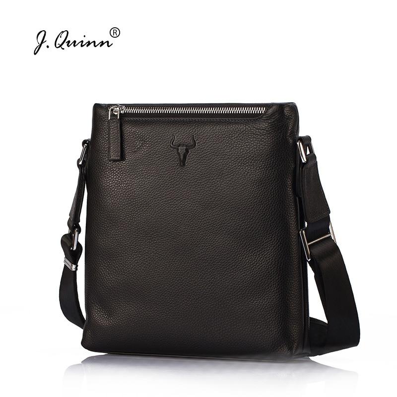 J.Quinn Real Cowhide Mens Shoulder Bag Genuine Leather Quality Soft Grain Leather Business Bag Casual Men Crossbody Bags