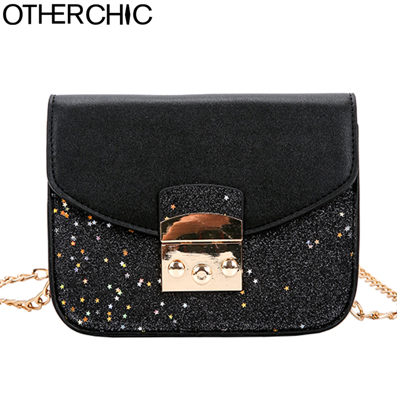 OTHERCHIC Fashion Bling PU Leather Bags for Women Chain Strap Famous Brand Crossbody Bags Small Shoulder Messenger Bag 8N03-25