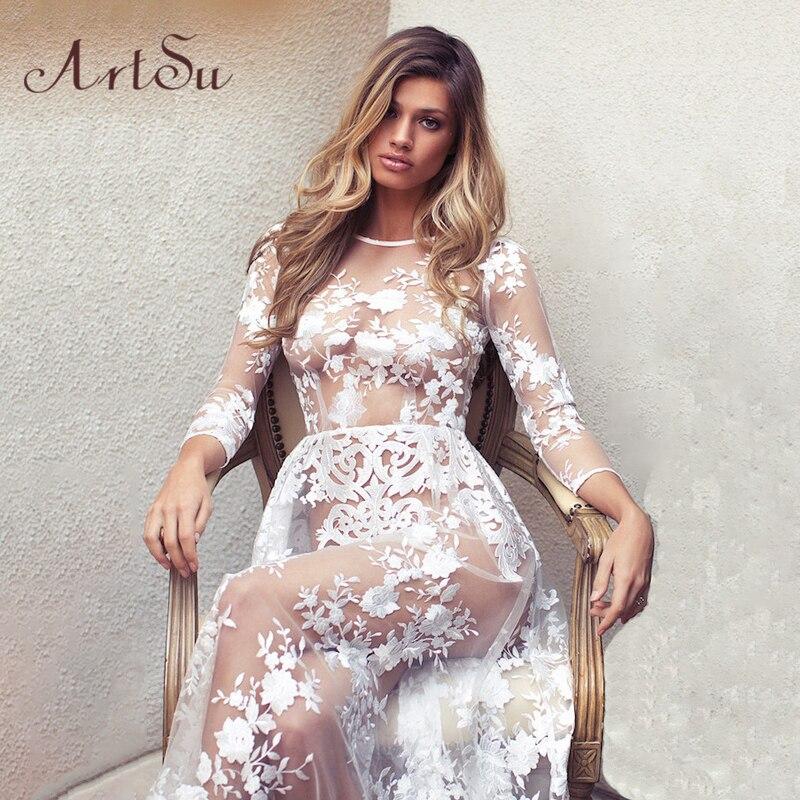 ArtSu Fashion Maxi Dress Women Sexy See Through Lace Long Sleeve Spring Summer Evening Party Dresses Vestido De Festa ASDR20030