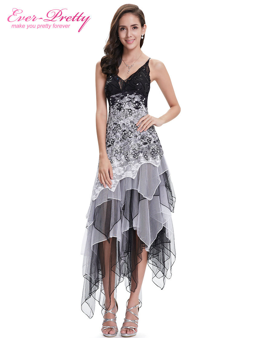 Party Dresses Ever Pretty EP6212B Sexy Black And White Lace Long Wedding Plus Size Cocktail Dress
