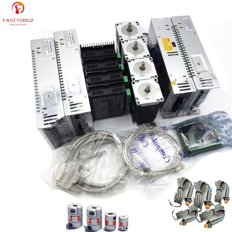 4 assi NEMA34 1230Oz-in 8.5Nm Motore Passo A Passo + Driver + Alimentazione + 5 Assi Bordo di Sblocco + Interruttore del Sensore + raccordi per il Router di CNC Set4 assi NEMA34 1230Oz-in 8.5Nm Motore Passo A Passo + Driver + Alimentazione + 5 Assi Bordo di Sblocco + Interruttore del Sensore + raccordi per il Router di CNC Set