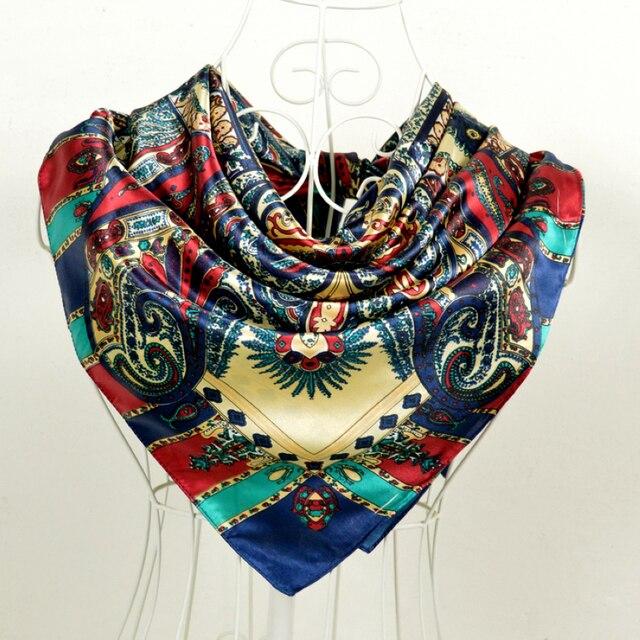 1551791c8d27 Bohême Style Femmes Satin Grande Place Foulard En Soie 90 90 cm Rouge Bleu  Multicolore