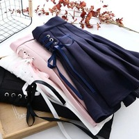 Phong Cách Preppy Cô Gái Ren lên Mini Xếp Li Váy Đen/Xanh/Trắng