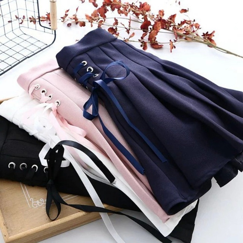 Preppy Style Girls Lace up Mini Pleated Skirt Black/Blue/White