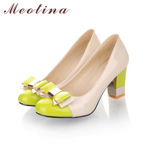 Image 5 - Meotina Ladies Shoes Pumps Autumn Round Toe Basic Office Chunky High Heels Shoes Women Bow Candy Color Shoes Plus Size 9 10