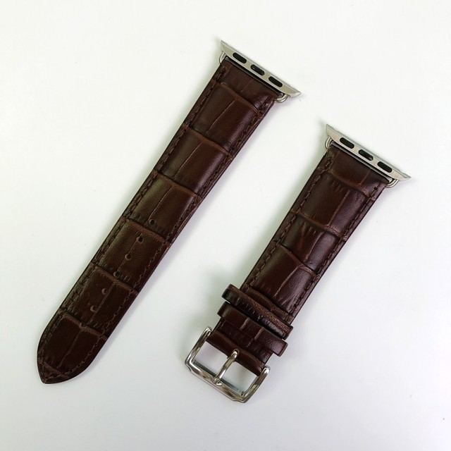 fc27f059c51 Crocodile grain pulseira de couro genuíno pulseira pulseira de substituição  para a apple watch nike +