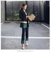 2018 WomenTwo Pieces Sets Vintage Slim Patchwork Green Long Blazer + Ankle Length Pant Suits Double Breasted Loose Outfits