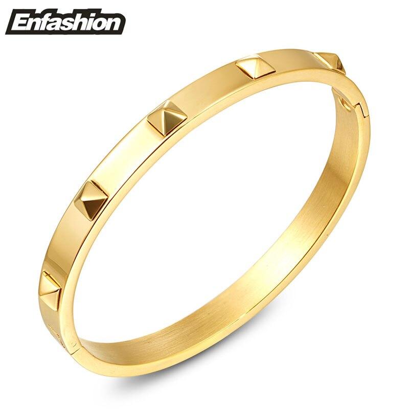 cac117a6aa60 Enfashion Pirámide Espigas Pulsera Manchette de Color Oro Pulsera de Acero  Inoxidable Para Las Mujeres Cuff