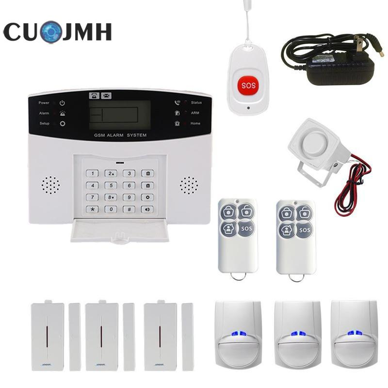 1 Set Lcd Wireless Smart Voice Home Gsm Burglar Alarm Intercom Remote Control Autodial Siren Sensor System Alarm Host