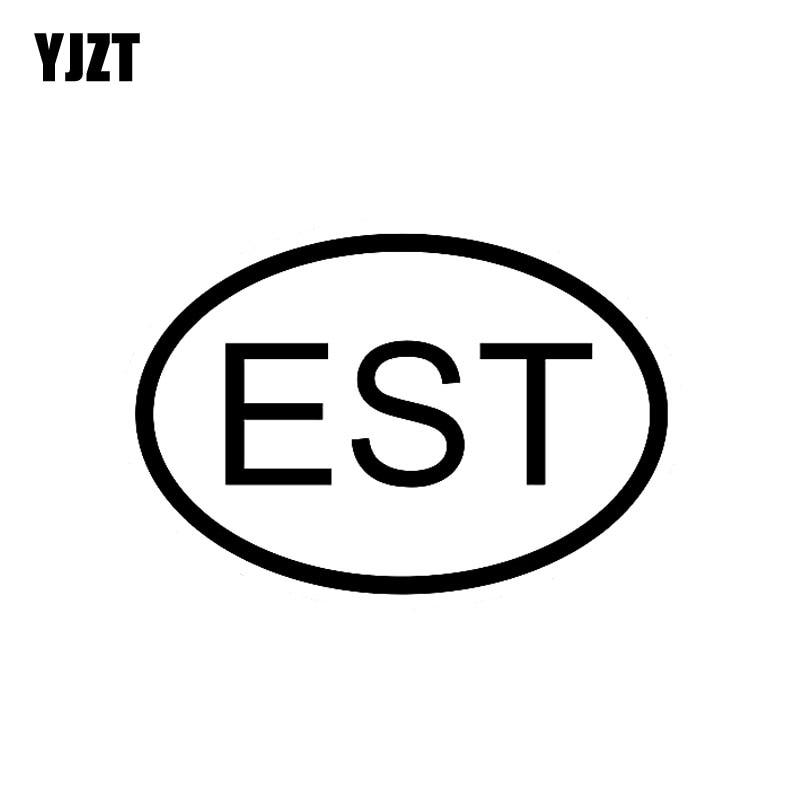 YJZT 13CM*8 7CM EST ESTONIA COUNTRY CODE OVAL CAR STICKER VINYL DECAL Black  Silver C10-01317