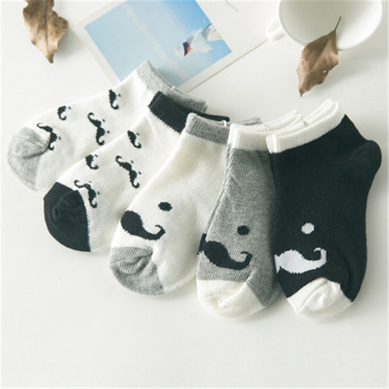 5 Pair/lot Cotton Baby Socks Printing Mustache Girls Boys Children Socks Spring Autumn Infant Toddler Kids Socks For 1-3 Year