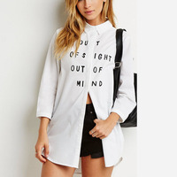 Women Letter Print White Full Sleeve Blouse Lapel Loose Split Female Shirts Camisas Femininas School Style