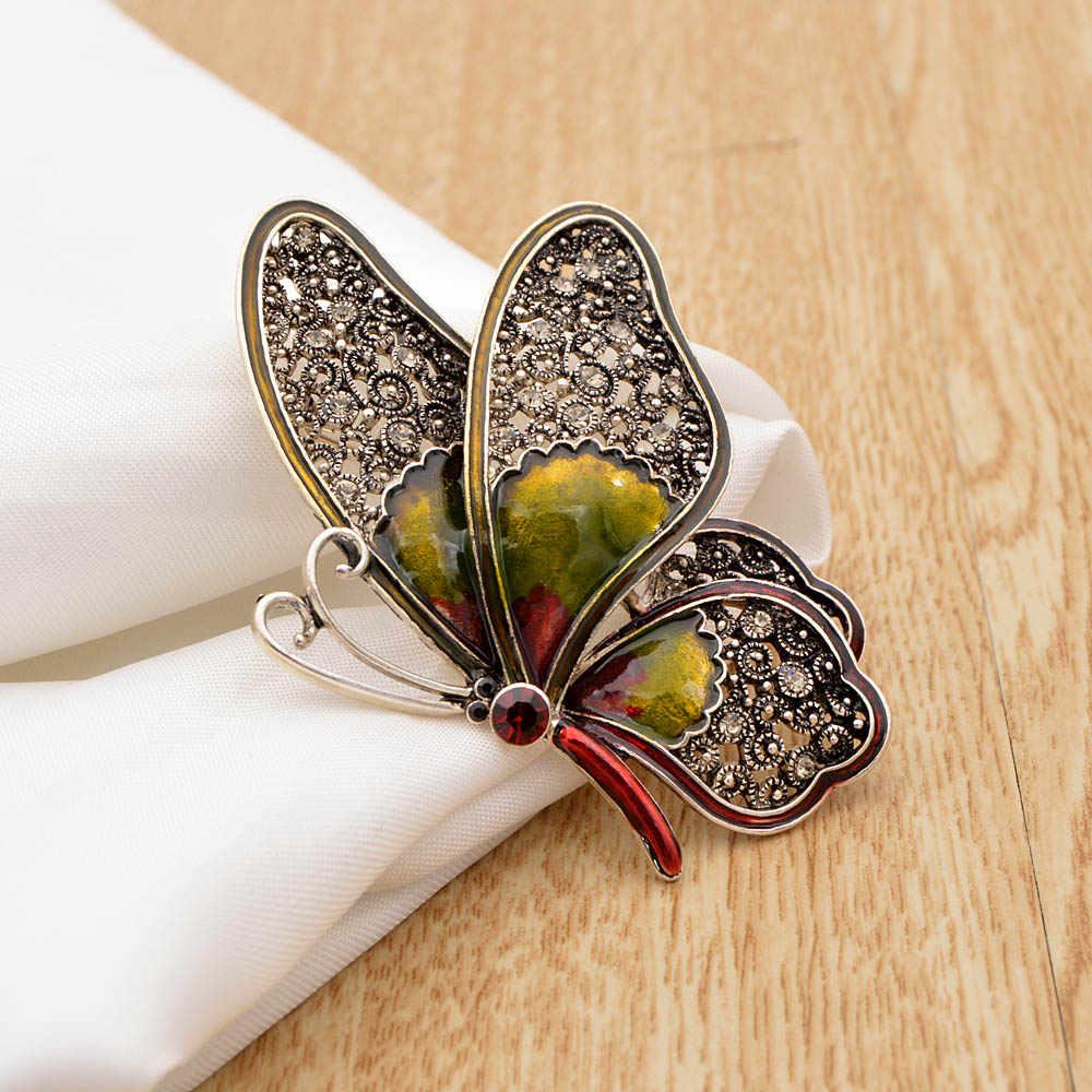 CINDY XIANG Strass Grande Farfalla Spille per Le Donne Elegante Insetto Colorato Spilli Dell'annata di Modo Bella Spilli Buon Regalo