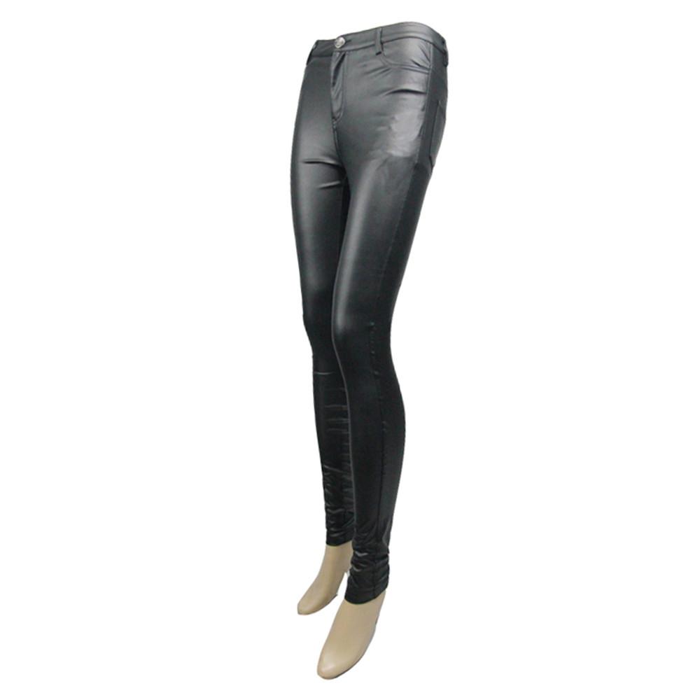 b47a34c9feef6 Punk Women PU Leather Pants Gothic Stretch Tight Black Trousers Long ...