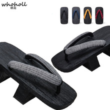 WHOHOLL Original Geta Mens Two-teeth Japanese Clogs Thick Platform Wooden Slippers Cosplay costumes Novelty Kimono Shoes