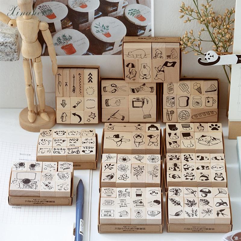 1set Vintage Arrow Animal Plant Travel Stamp DIY Wooden Rubber Stamps For Scrapbooking Stationery Scrapbooking Standard Stamp