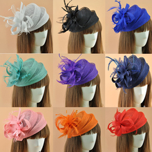 Elegant Ladies royal Fascinators Hat Sinamay Fascinator Women Linen Feather Hat Wedding Party Hair Accessory Feather Race Hat