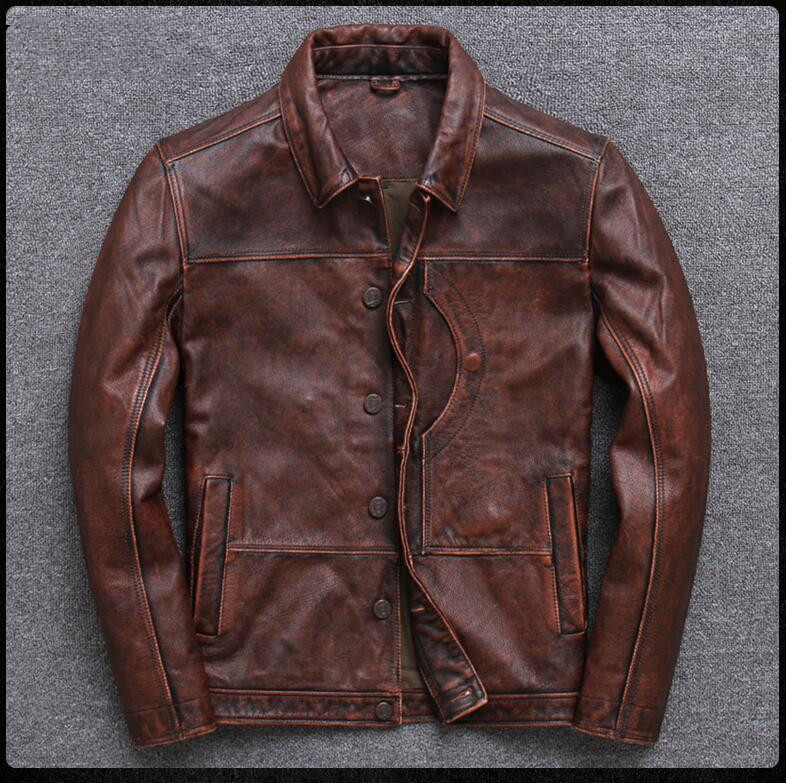 HTB1Lp3tPgHqK1RjSZFEq6AGMXXaz 2019 Vintage Brown Men Smart Casual Leather Jacket Single Breasted Plus Size XXXL Genuine Cowhide Russian Coat FREE SHIPPING