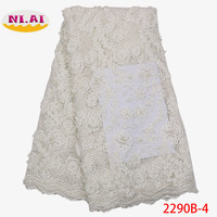 African 3D Lace Fabric 2018 High Quality Lace French Lace Fabric Beaded Nigerian Tulle Mesh Lace Material For Dress XY2290B 1