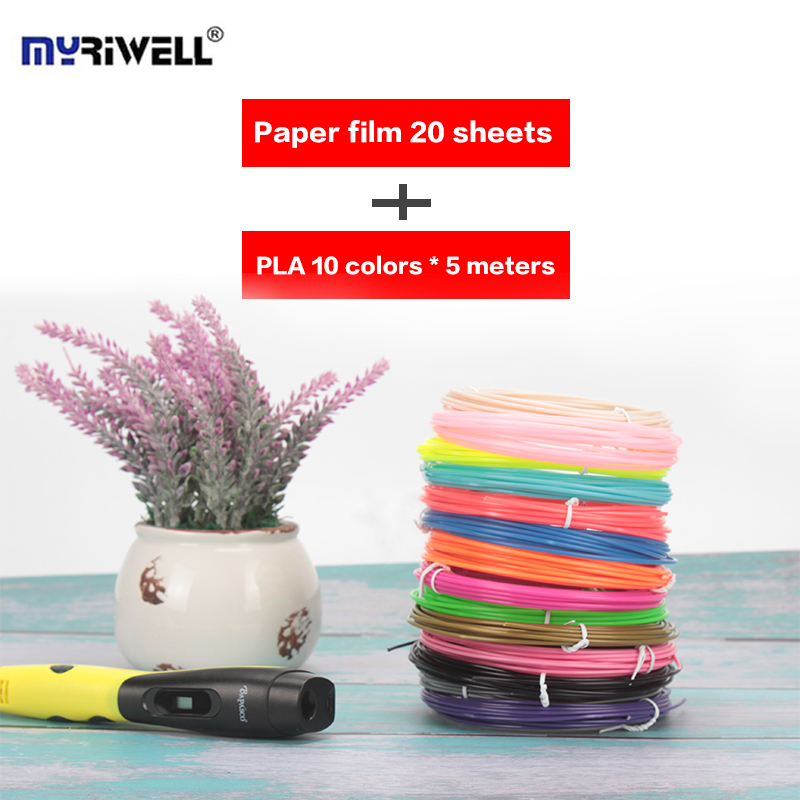 Myriwell 2nd 3D Pen Doodler Multi-Color PLA Filament (10color*5m) Paper Model 20 Pieces  ...