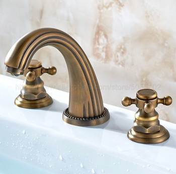 3 pcs Antique Brass Deck Mounted Bathroom Mixer Tap Bath Basin Sink Vanity Faucet Water Tap Bath Faucets znf199