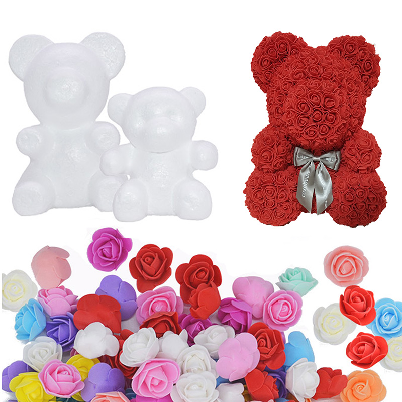 20cm/35cm Foam Rose Bear Mold PE Artificial Flower Heads Home Decor Kids DIY Craft Early Educational Toys For Kid Birthday Gift