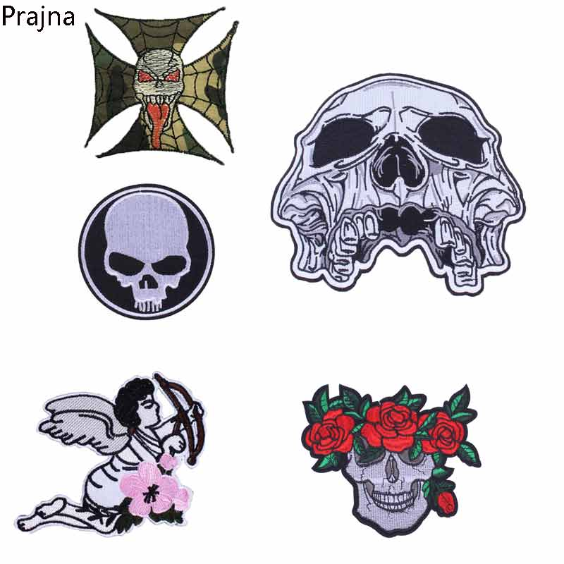 Prajna Stripe Custom Sons Of Anarchy Patch Skull Tactical Applique Embroidery Skull Patches Backpack Badges Armband Sewing D