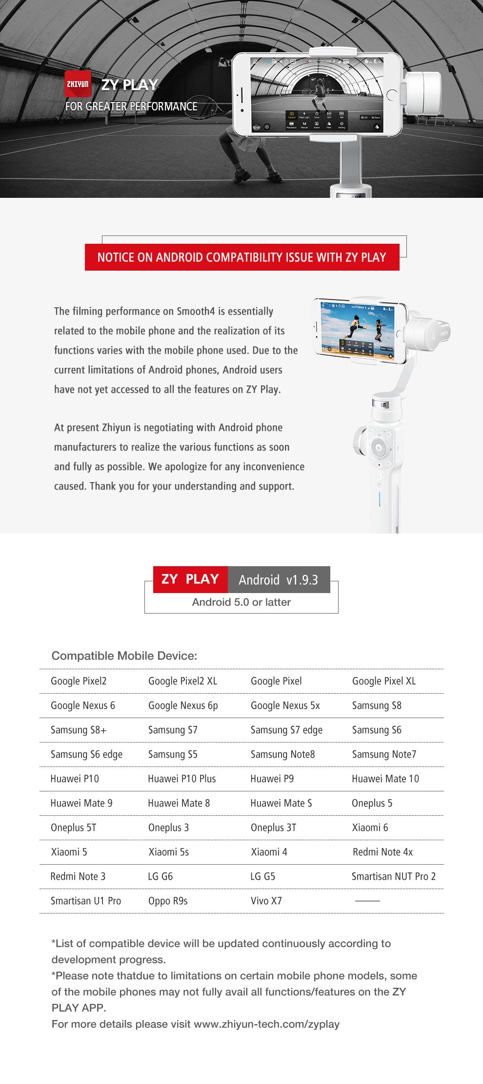 Zhiyun Smooth 4 3-Axis Handheld Smartphone Gimbal Stabilizer for iPhone XS Max XR X 8Plus 8 7P7 Samsung S9 S8 S7 & Action Camera 7