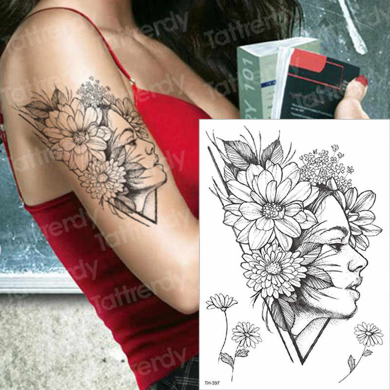 4459dfc5c temporary tattoos for women flower tattoo daisy peony tattoo arm leg tattoo  sleeves girl sexy tatoo