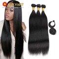 8A Grade Virgin Unprocessed Brazilian Human Hair Straight Weaving With Free Closure And Bang ELI Queen Hair 3 Bundles Deals