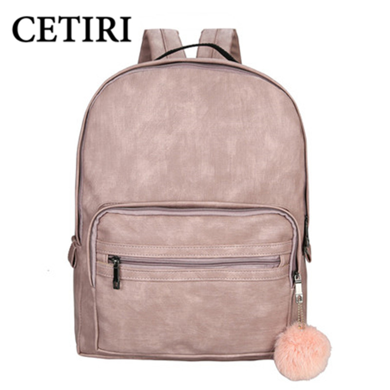 CETIRI Backpack Women School Large Backpack Female Leisure Bag Bagpacks For Teenage Girls PU Leather Sac A Dos Back Pack Pink