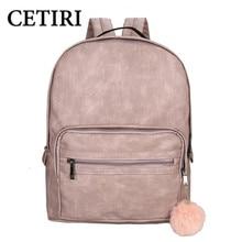 CETIRI Backpack Women School Large Backpack Female Leisure Bag Bagpacks For Teenage Girls PU Leather Sac A Dos Back Pack Pink