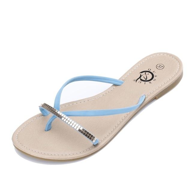 3970a19a9a3a New 2016 T-Strap women flip flops Beach sandals fashion Bling slippers  summer women flats shoes woman flat sandals Y-72