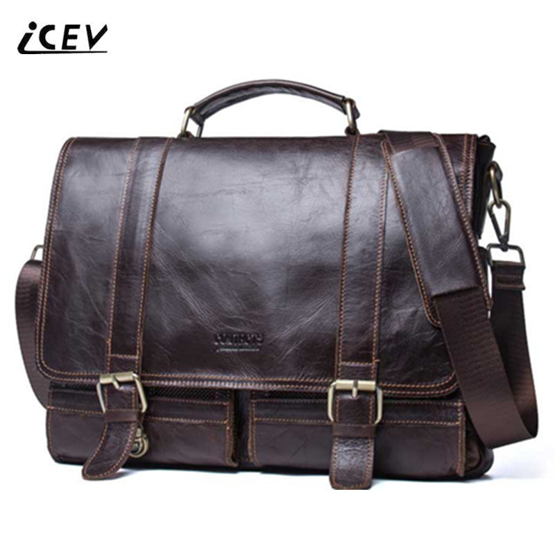 ICEV New Simple 100% Genuine Leather Handbags High Quality Top Handle Bags Cow Leather Men Leather Handbags Office Totes Sac icev 100