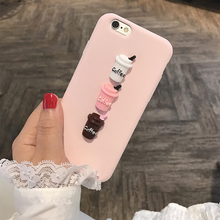 Case for iphone 5 5s 6 6s 7 8 plus X 3D Coffee Milk Makara pink cute soft tpu cover for Samsung galaxy S6 S7 edge S8 Note 8