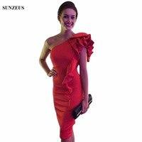 Оболочка по колено на одно плечо для матери невесты платье для свадьбы Элегантные красные атласные Женское cm074