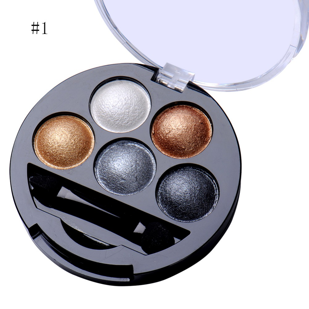 5 Warna Pigmen Eyeshadow Palette Eye Shadow Bubuk Logam Shimmer Makeup Kecantikan Profissional Make Up Warna Hangat Tahan Air