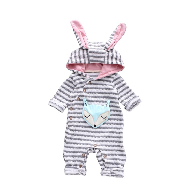 summer spring autumn 0-2 years old Infant Cute clothing young girls boys hooded Rompers clothes baby fox jumpsuit puseky 2017 infant romper baby boys girls jumpsuit newborn bebe clothing hooded toddler baby clothes cute panda romper costumes