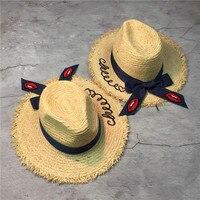 6 stücke freies verschiffen 0177-PPC-3400shi38538 cowboy band bowknot Rote lippen dame fedoras strohhut außen strand frauen kappe großhandel