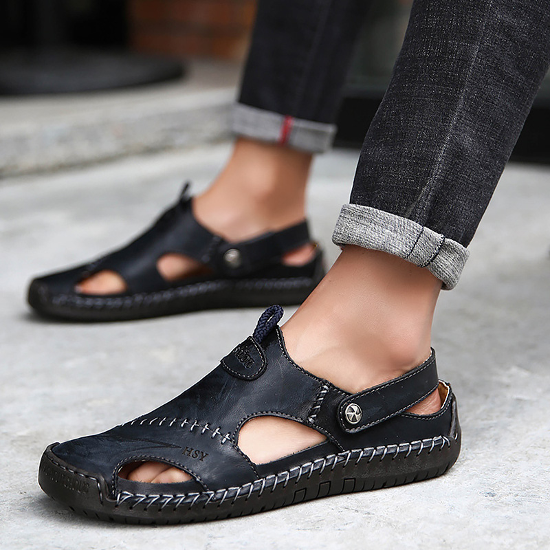 Genuine Leather Men's Sandals Summer Clogs Big Size 45-48 Hollow Sewing Black Shoes For Men Slip-On Soft Casual Sandals Male